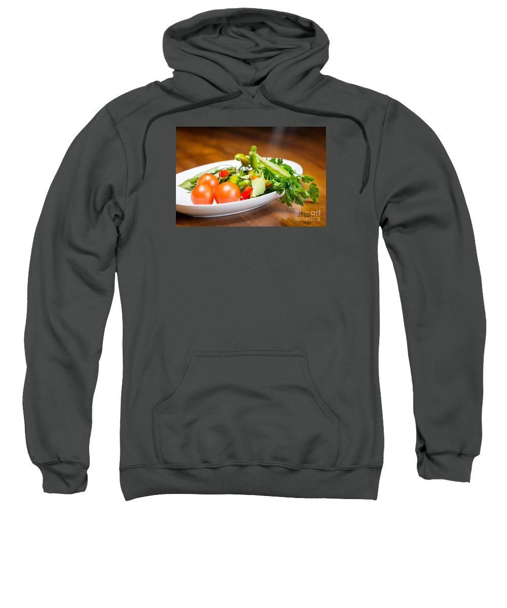 Italy Sweatshirt featuring the photograph Tomatoes And Hot Peppers With Parsley Fresh From The Garden by Massimiliano Marino