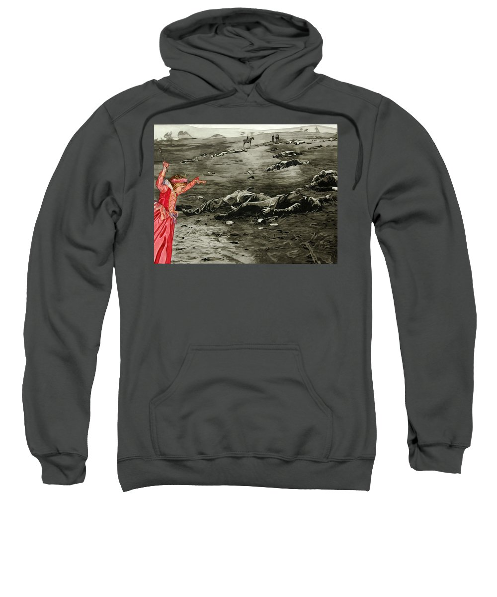 War Sweatshirt featuring the painting Too Late by Valerie Patterson