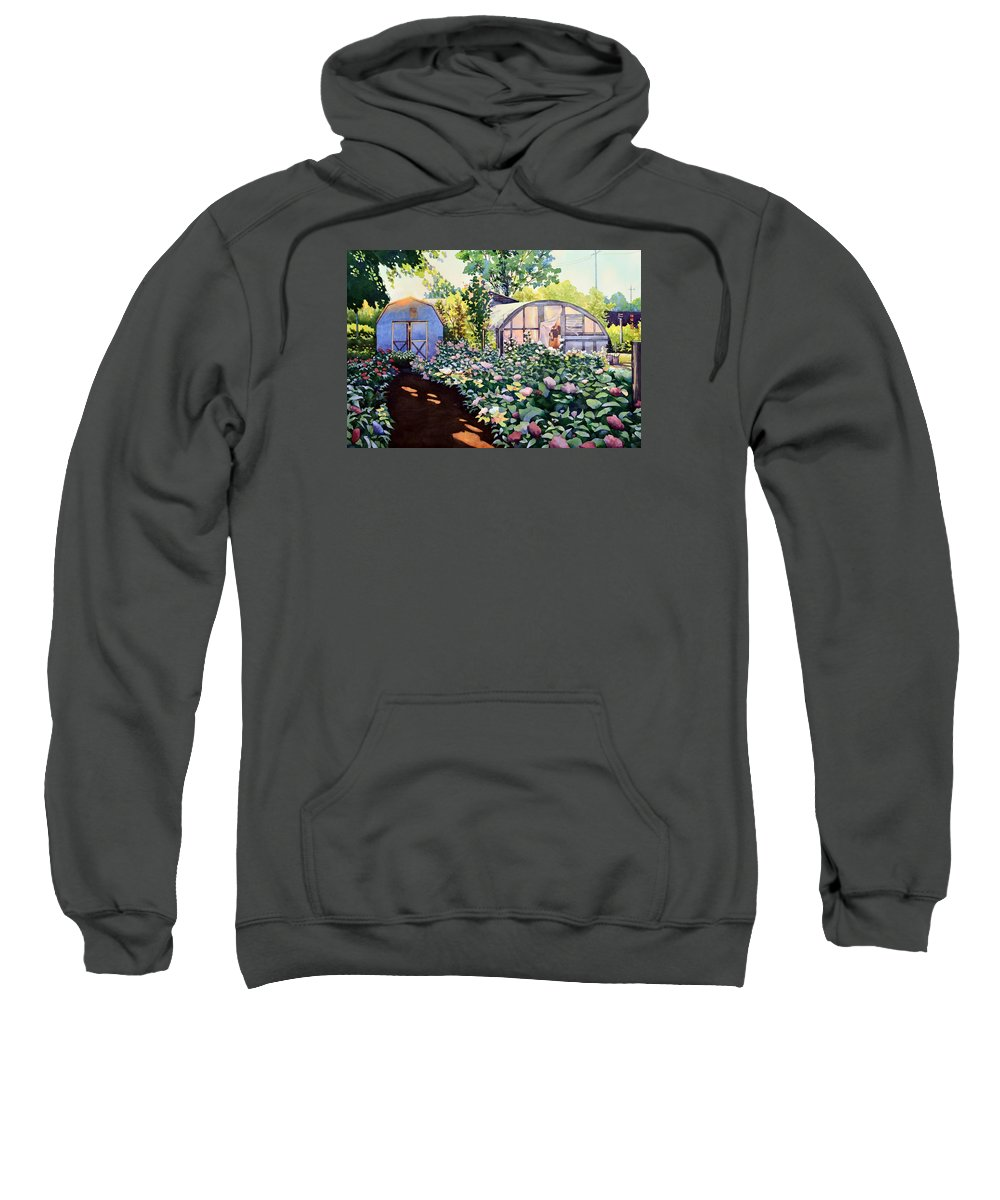 Watercolor Sweatshirt featuring the painting Tool Shed And The Greenhouse by Mick Williams