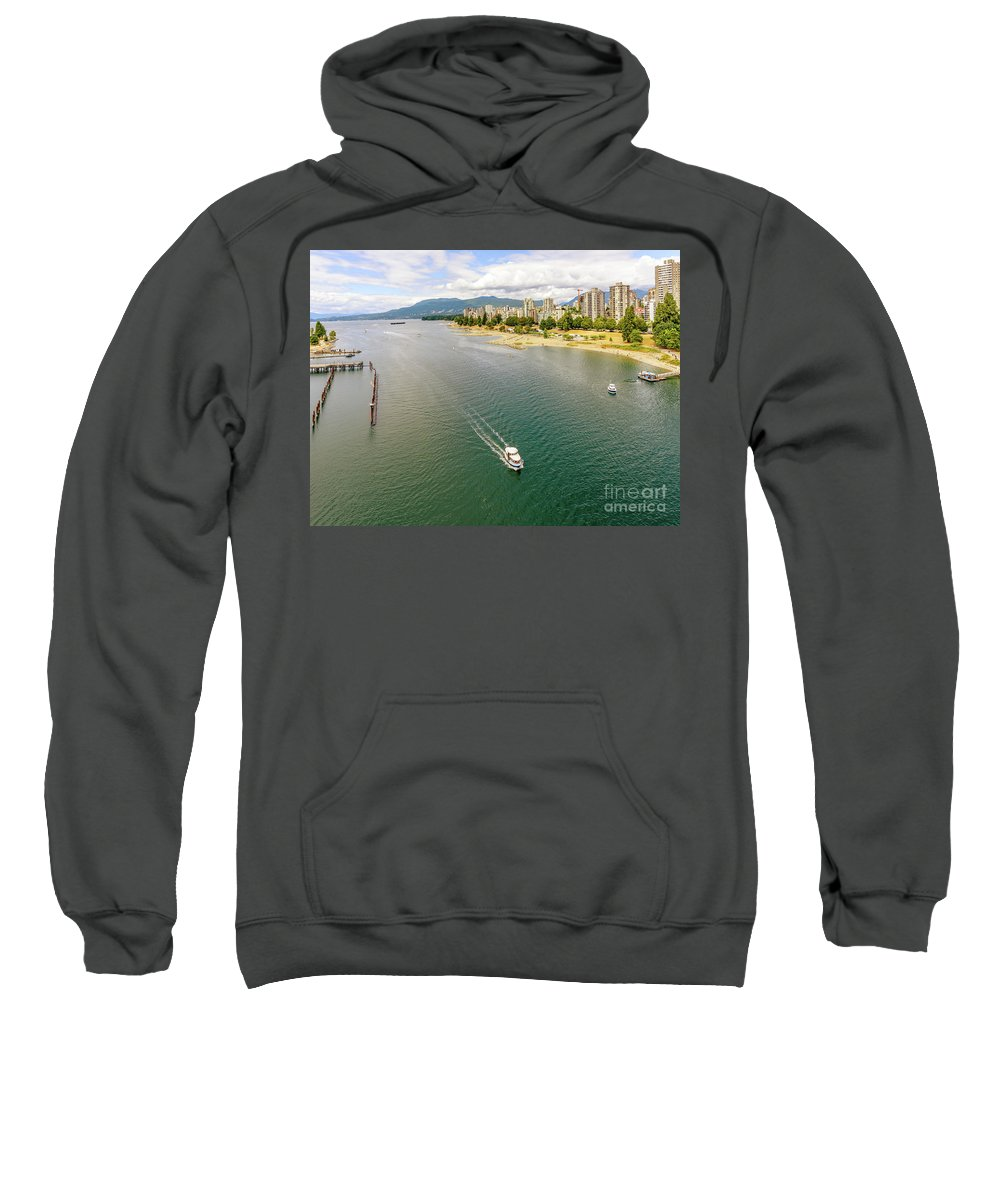 Ocean Sweatshirt featuring the photograph Top View Of English Bay In Summer, Vancouver Bc. by Viktor Birkus