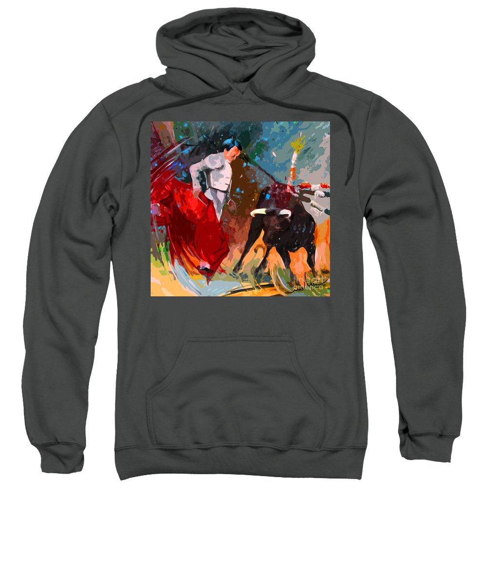 Bullfight Sweatshirt featuring the painting Toroscape 05 by Miki De Goodaboom