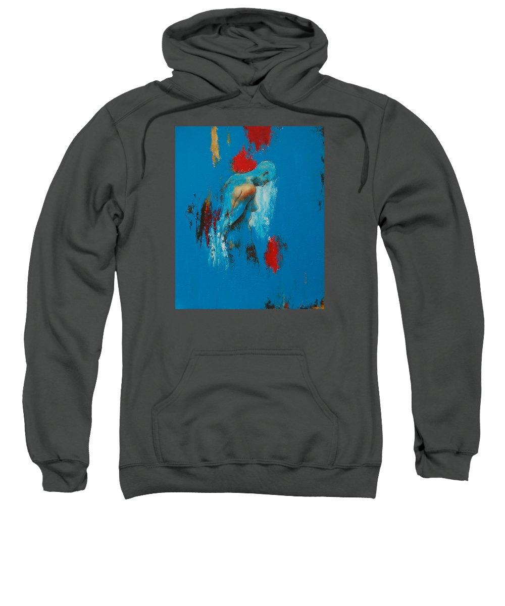 Female Sweatshirt featuring the painting Torso In Blue by Jos Van de Venne