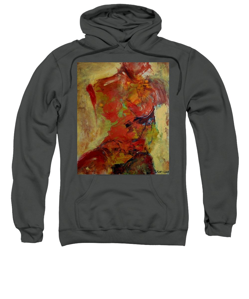 Abstract Sweatshirt featuring the painting Torso by Rome Matikonyte