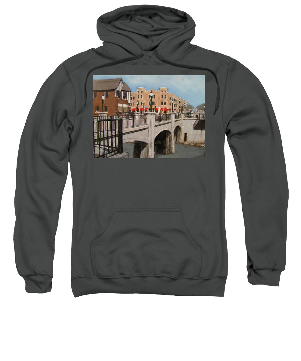 Milwaukee Sweatshirt featuring the mixed media Tosa Village Bridge by Anita Burgermeister