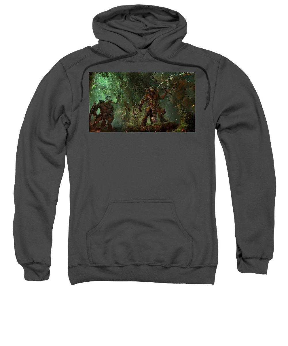 Total War Warhammer Sweatshirt featuring the digital art Total War Warhammer by Bert Mailer