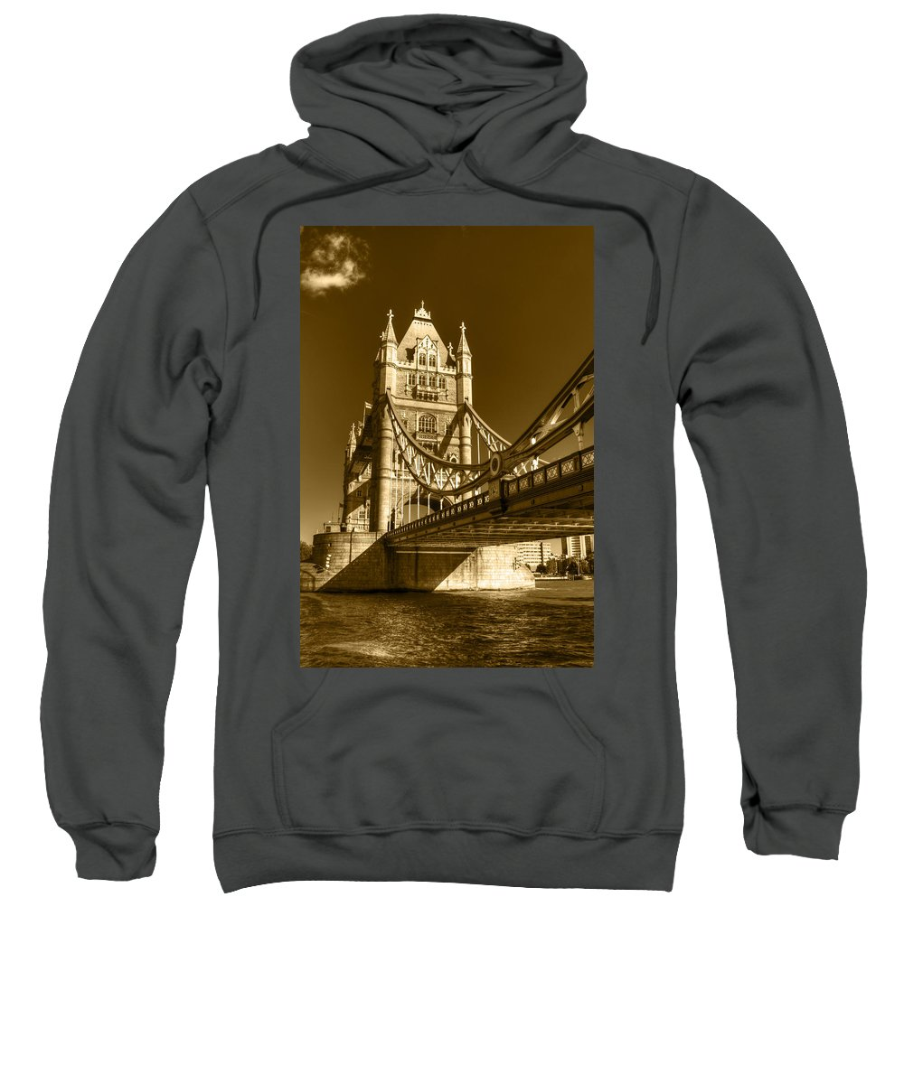 Tower Bridge Sweatshirt featuring the photograph Tower Bridge In Sepia by Chris Day