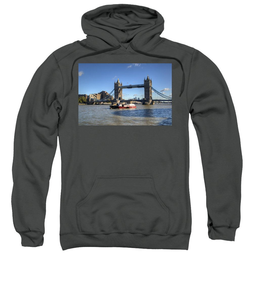 Tower Bridge Sweatshirt featuring the photograph Tower Bridge With Canary Wharf In The Background by Chris Day