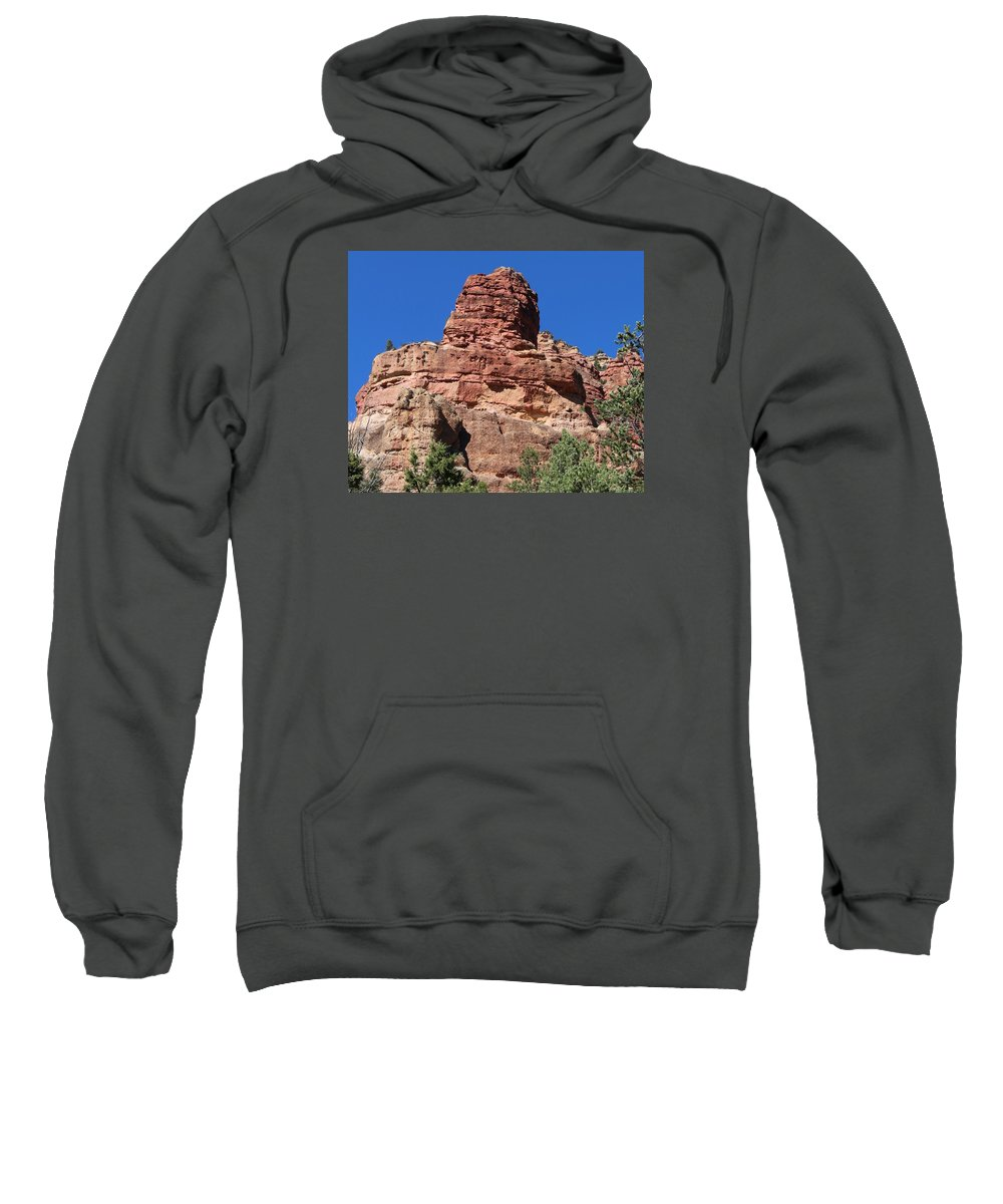 Landscape Sweatshirt featuring the photograph Towering Cliff by Judy Schneider