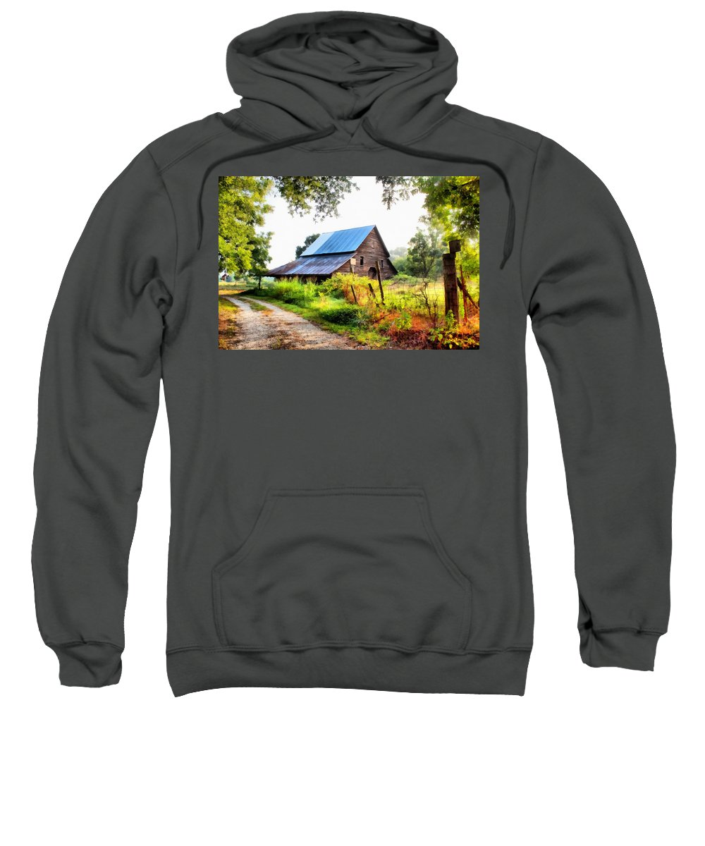 Landscape Sweatshirt featuring the painting Townville Barn by Lynne Jenkins