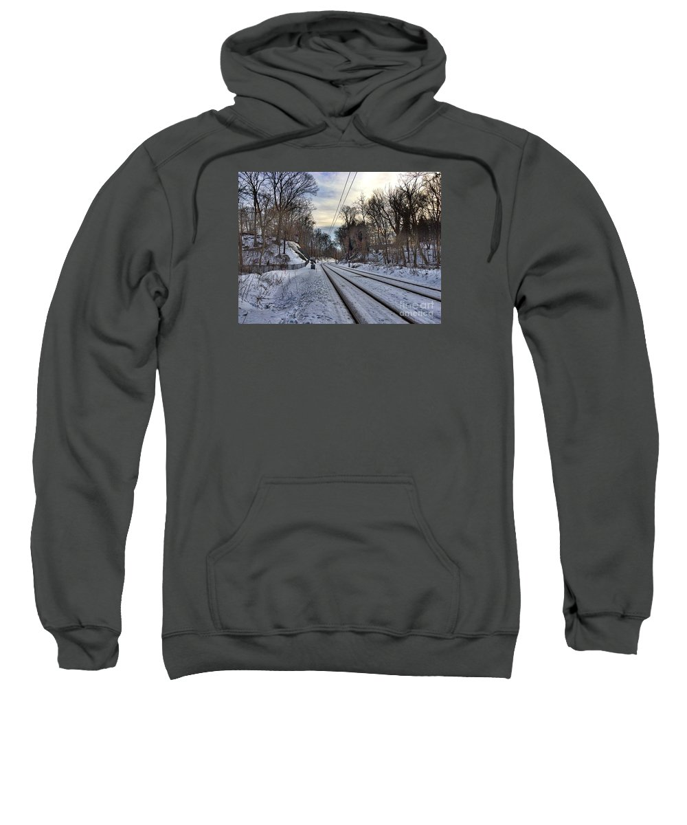 lake Roland Sweatshirt featuring the photograph Tracks Into The Sunset by Doug Swanson