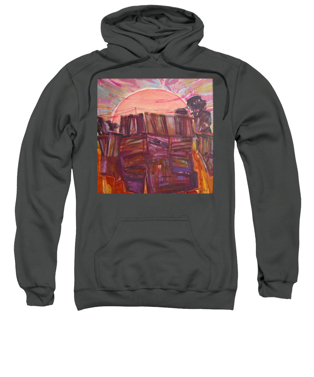 Oil Sweatshirt featuring the painting Tracks by Sergey Ignatenko