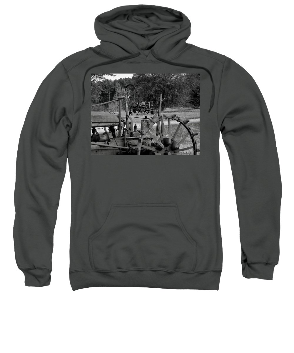 Tractor Sweatshirt featuring the photograph Tractor Graveyard by Betty Northcutt