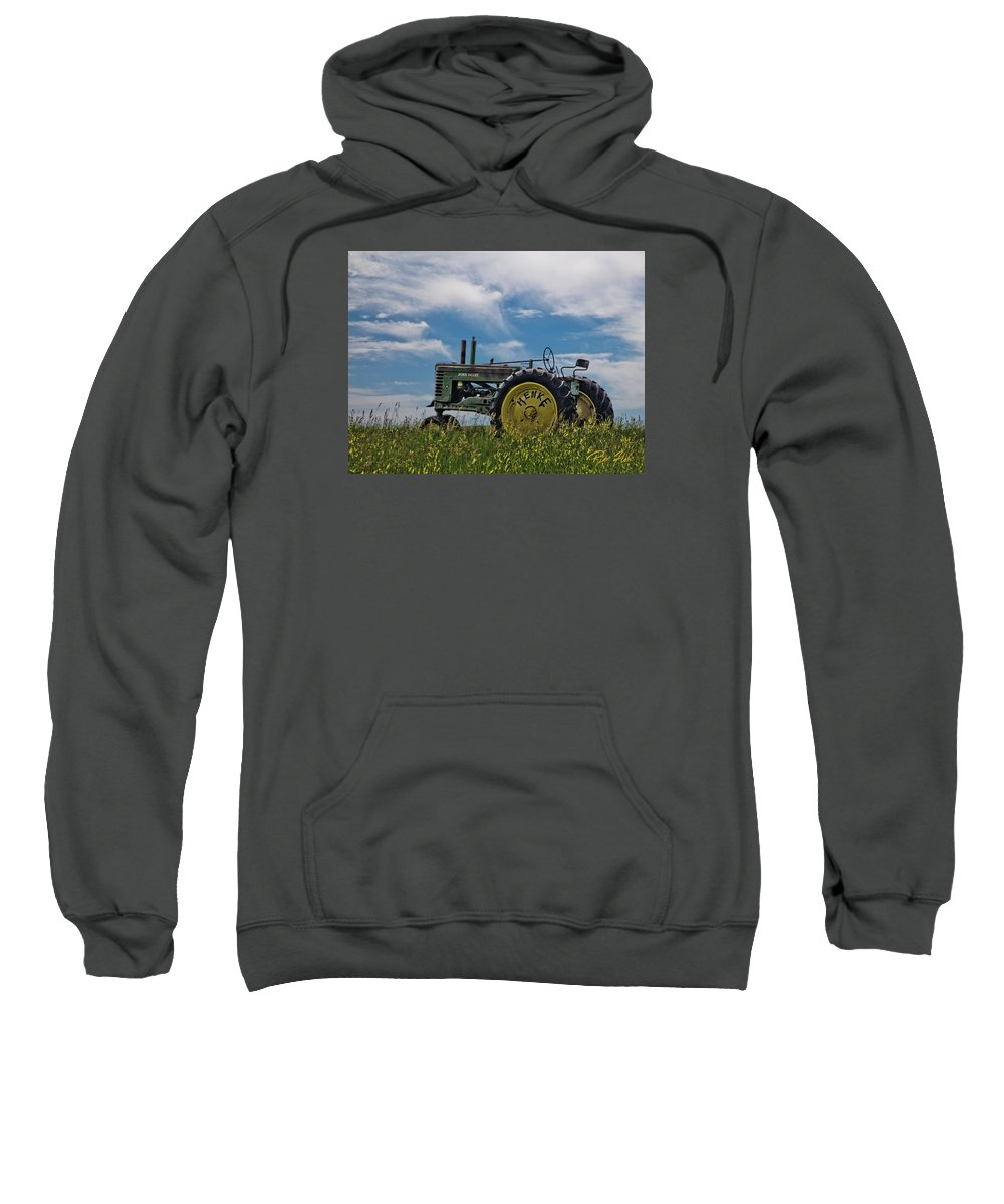 Tractor Sweatshirt featuring the photograph Tractor In Field by Rikk Flohr