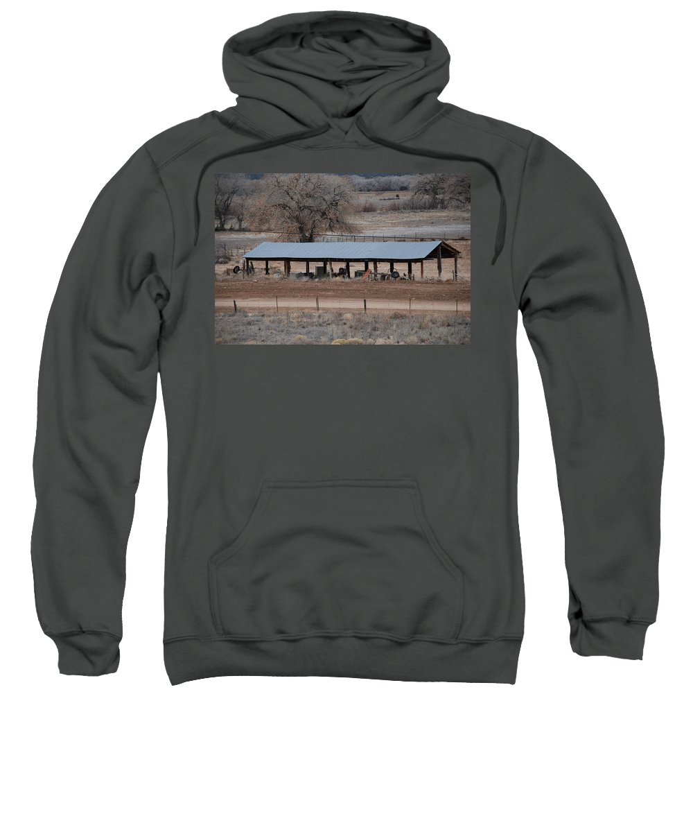 Architecture Sweatshirt featuring the photograph Tractor Port On The Ranch by Rob Hans
