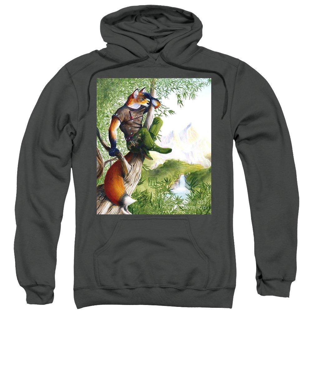 Fantasy Sweatshirt featuring the painting Trail Blazing Fox by Melissa A Benson