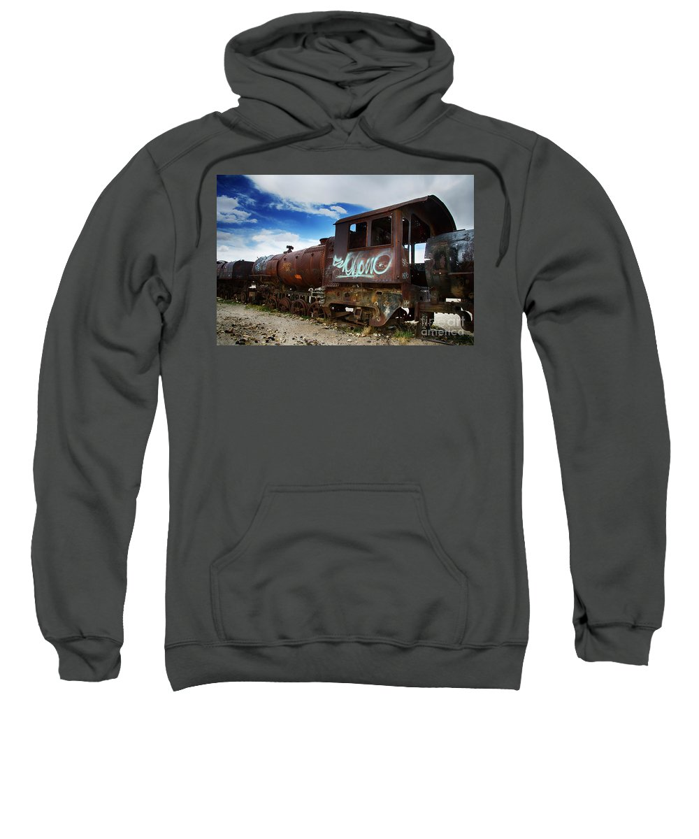 Uyuni Sweatshirt featuring the photograph Train Graveyard Uyuni Bolivia 16 by Bob Christopher