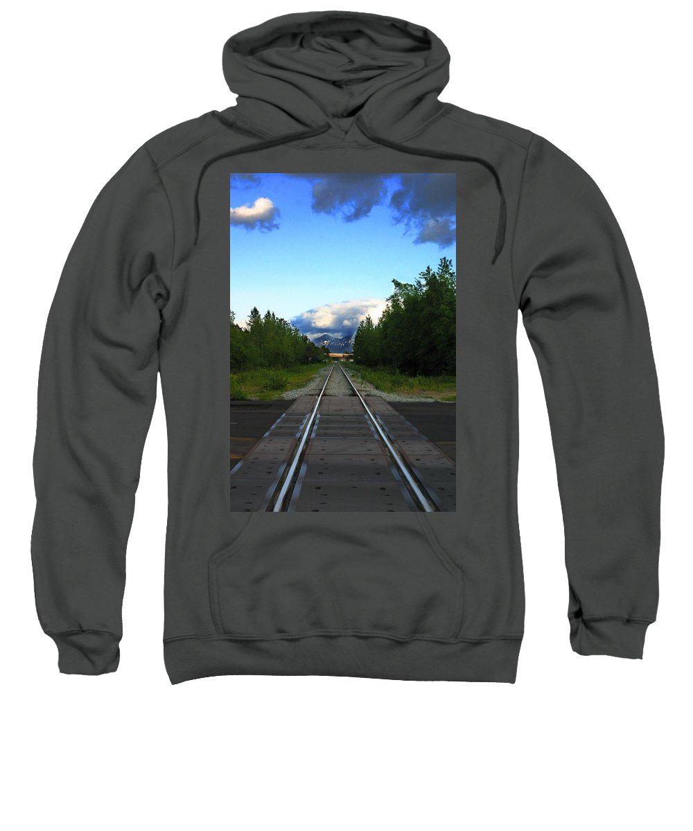 Train Sweatshirt featuring the photograph Train Tracks Anchorage Alaska by Anthony Jones