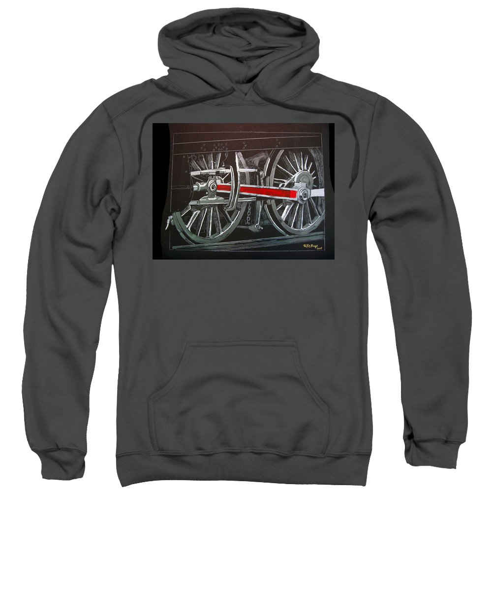 Trains Sweatshirt featuring the painting Train Wheels 4 by Richard Le Page