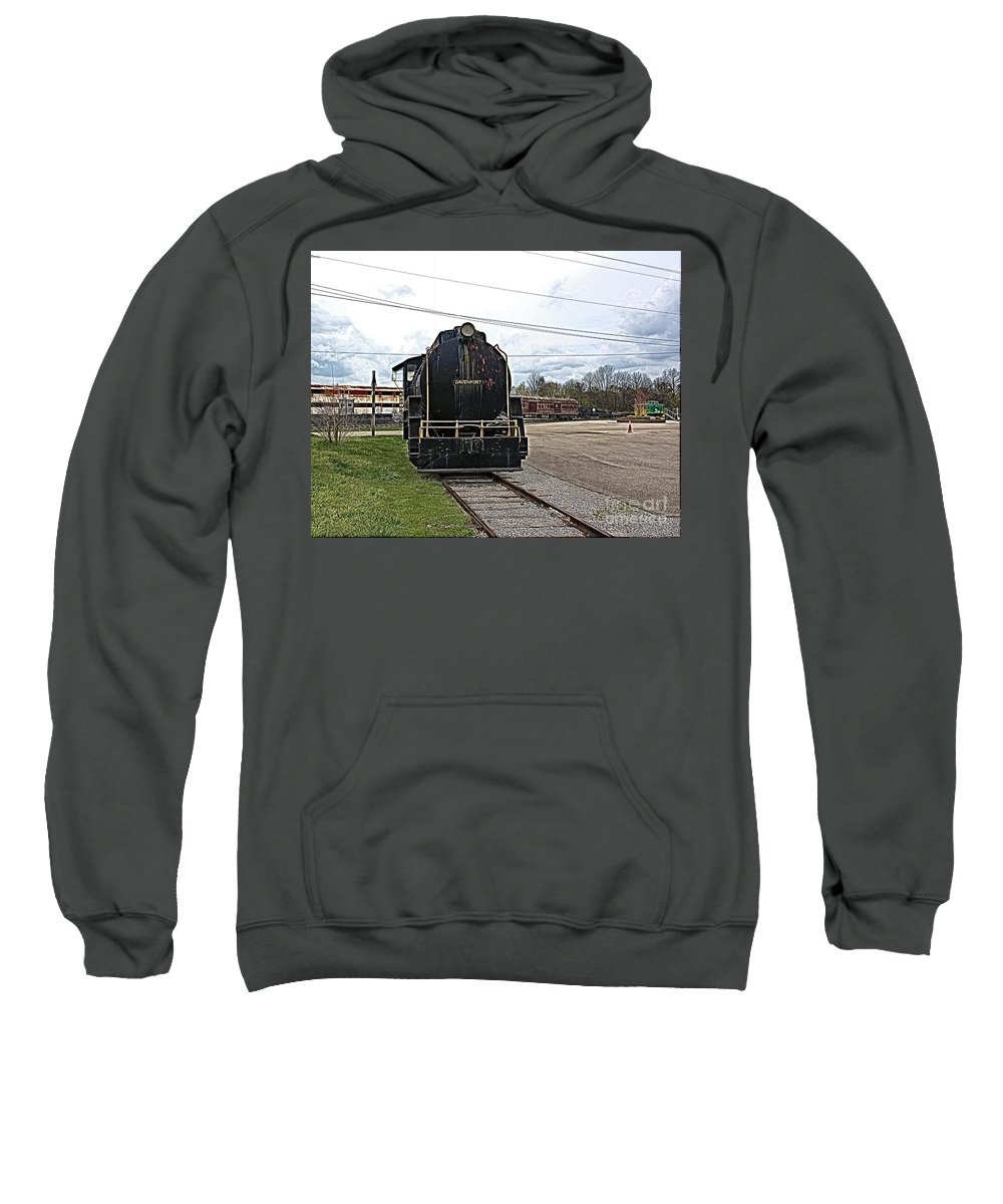 Train Sweatshirt featuring the photograph Trains 3 Paint Org by Jay Mann
