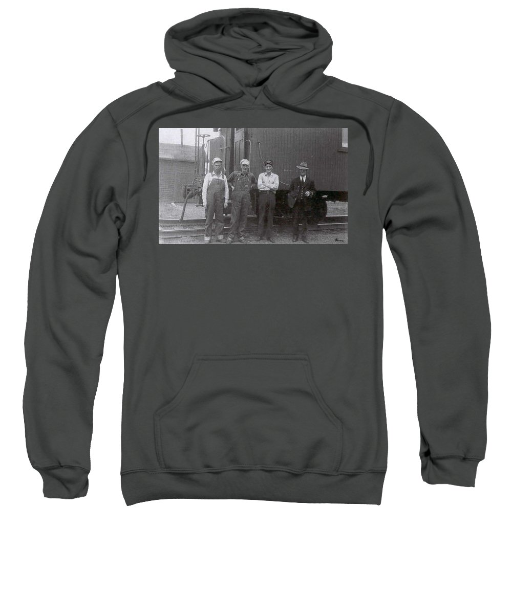 Old Photo Black And White Classic Saskatchewan Pioneers History Train Railway Workers Sweatshirt featuring the photograph Trainsmen by Andrea Lawrence