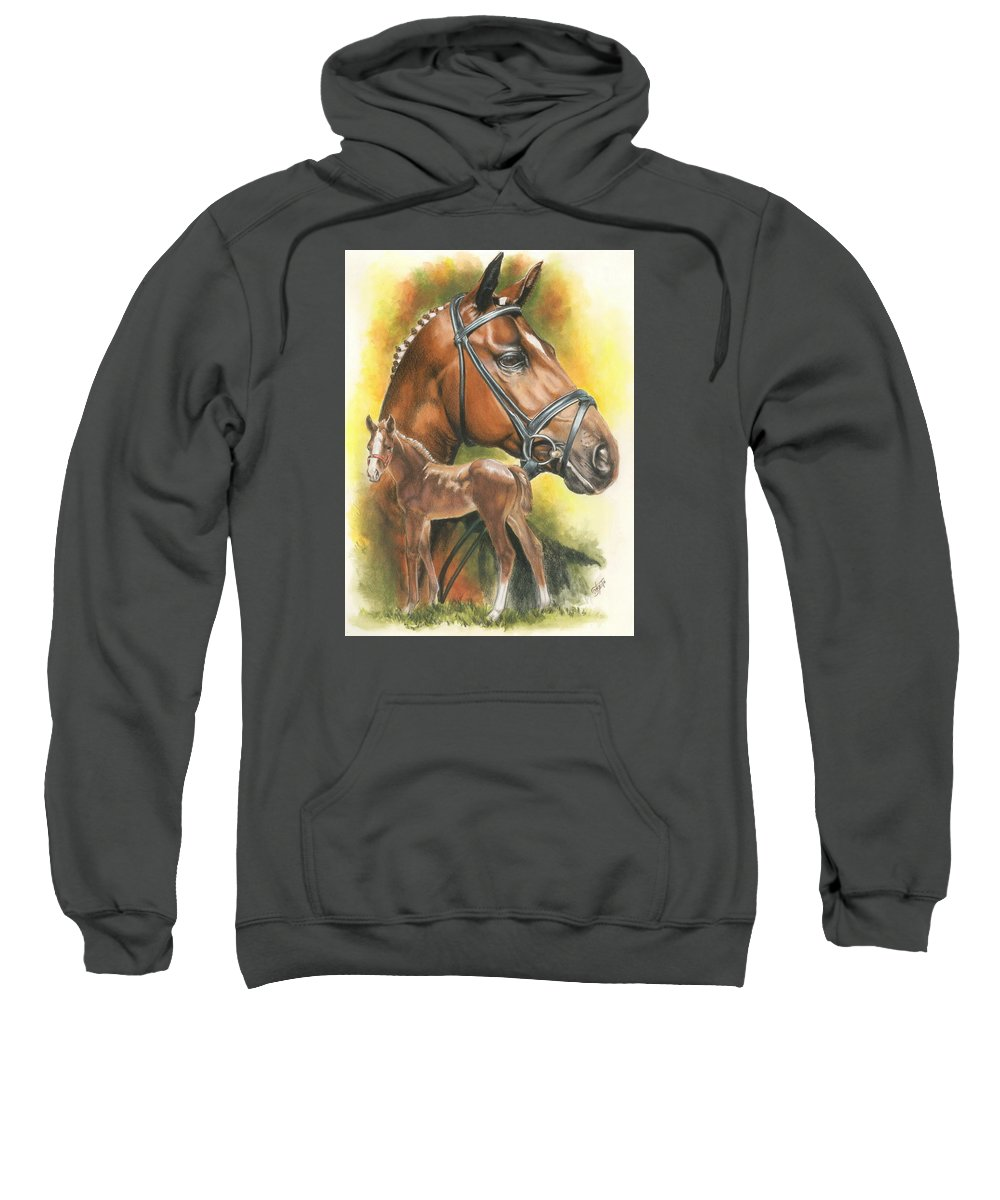 Jumper Hunter Sweatshirt featuring the mixed media Trakehner by Barbara Keith