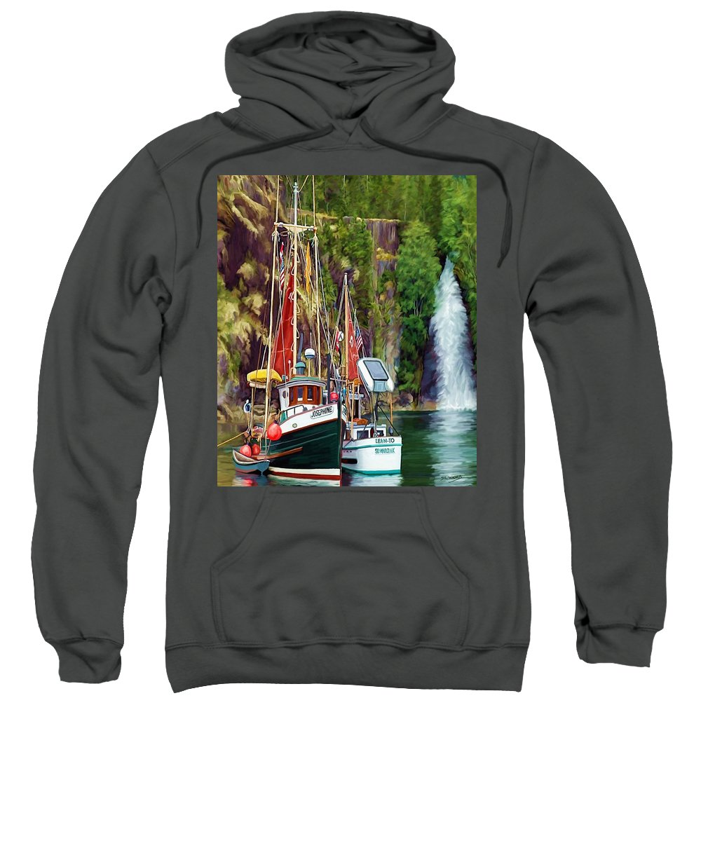 Boats Sweatshirt featuring the painting Tranquility by David Wagner