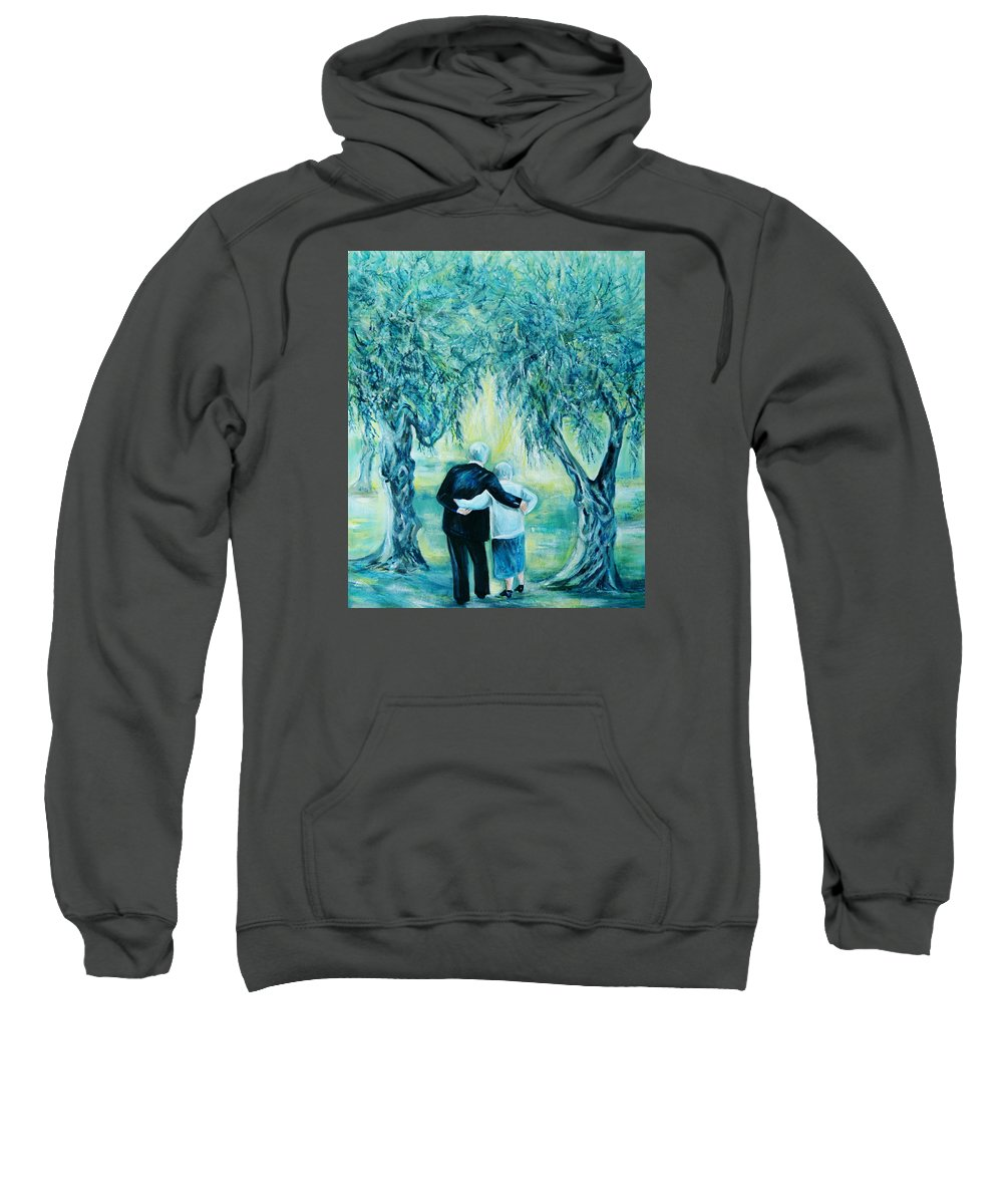 Travel Sweatshirt featuring the painting Travel Notebook.olive Groves by Anna Duyunova