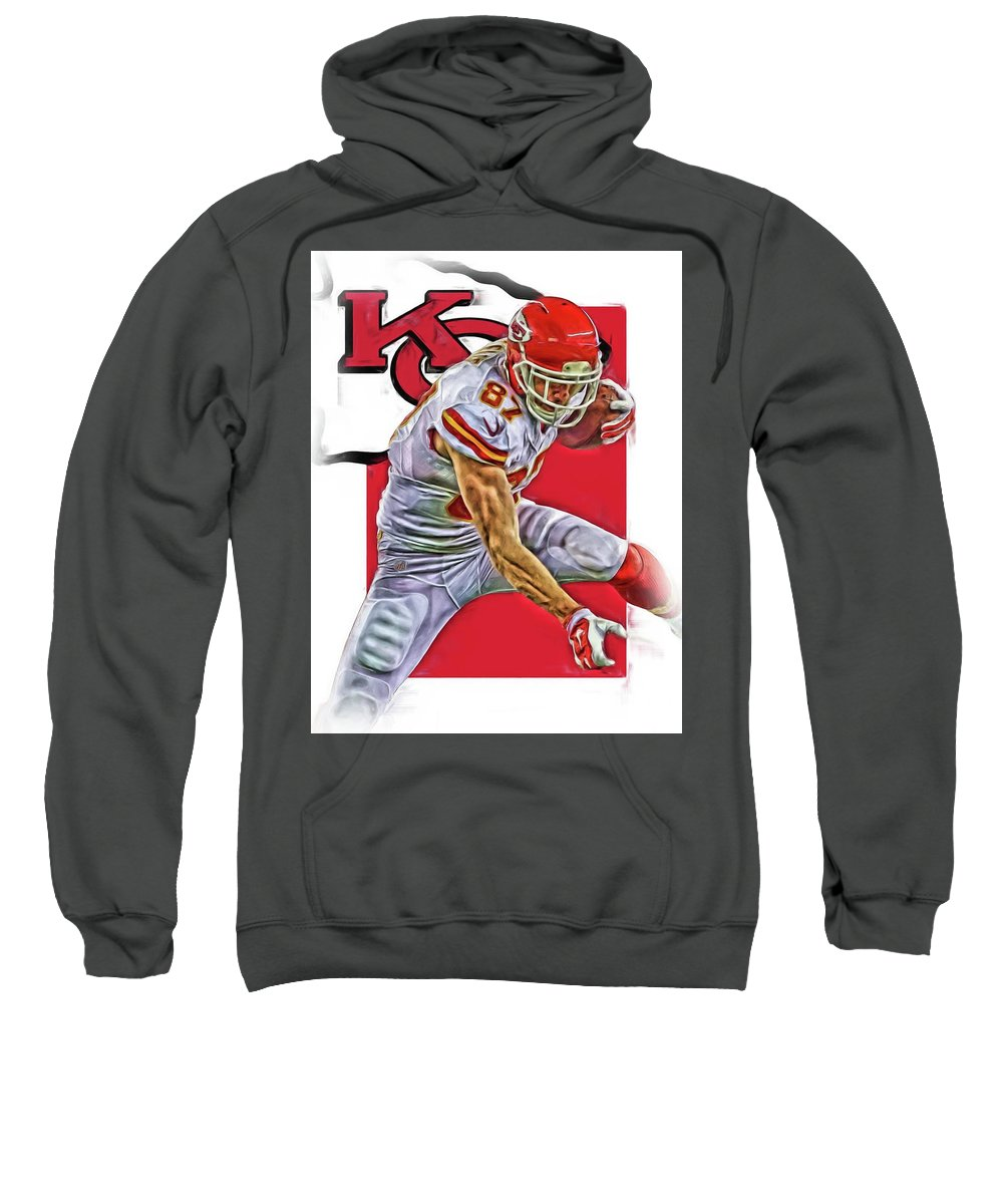 Travis Kelce Sweatshirt featuring the mixed media Travis Kelce Kansas City Chiefs Oil Art by Joe Hamilton