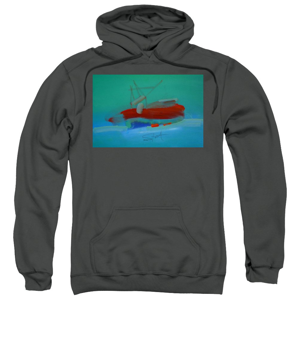 Fishing Boat Sweatshirt featuring the painting Trawler by Charles Stuart
