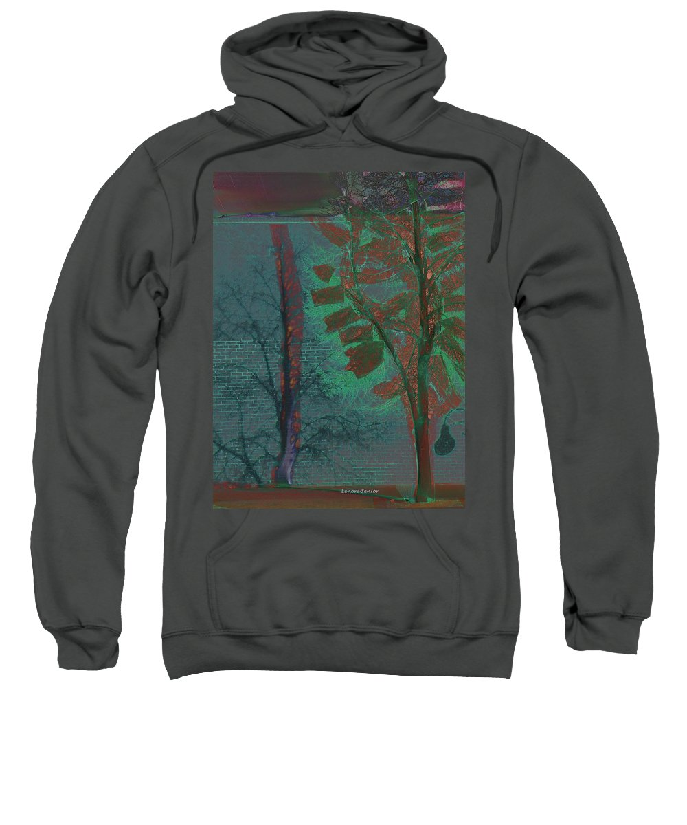 Abstract Sweatshirt featuring the mixed media Tree Shadows At Midnight by Lenore Senior