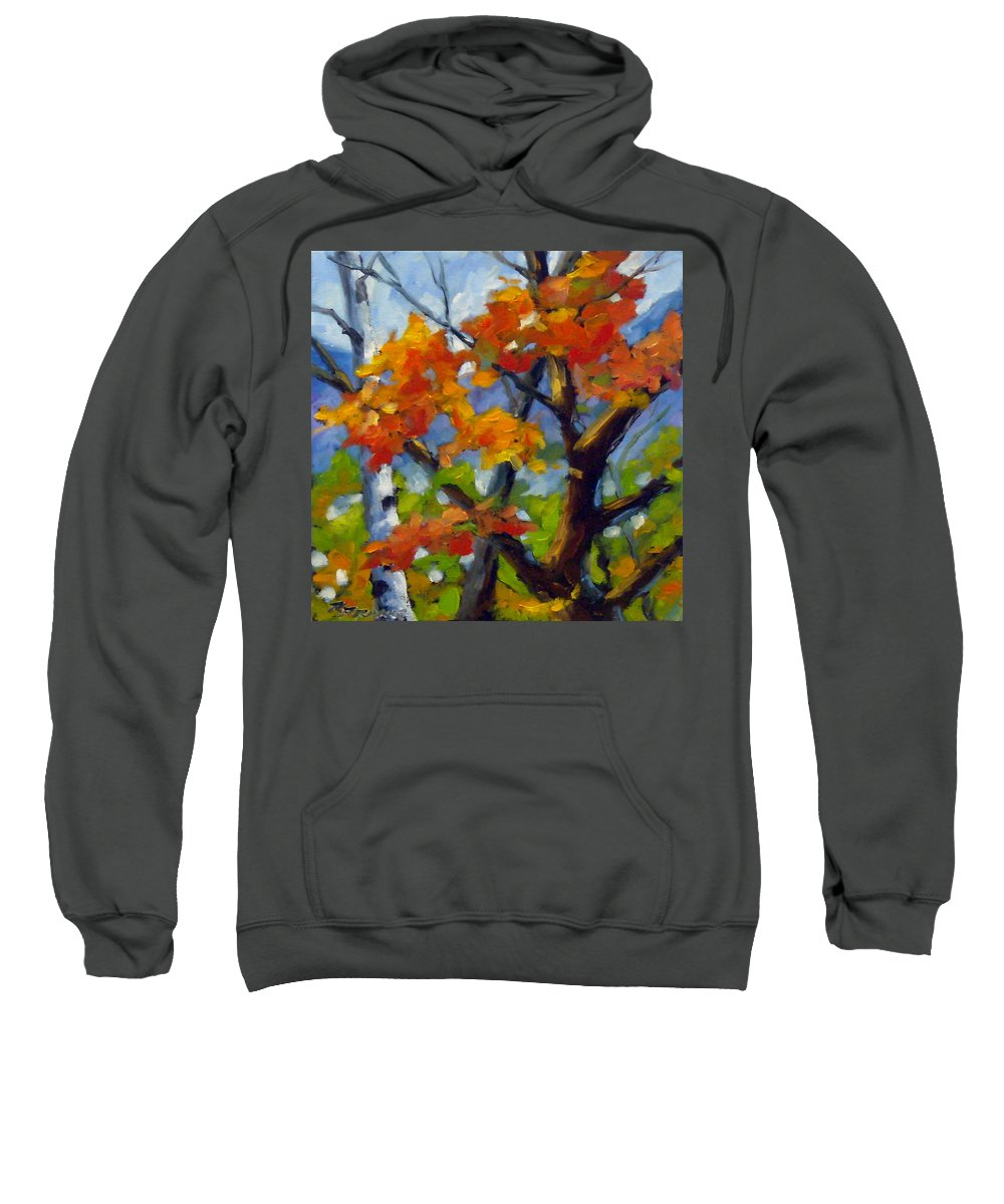 Art For Sale Sweatshirt featuring the painting Tree Tops by Richard T Pranke