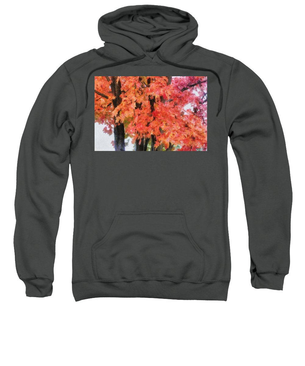 Flame Sweatshirt featuring the painting Trees Aflame by Jeffrey Kolker