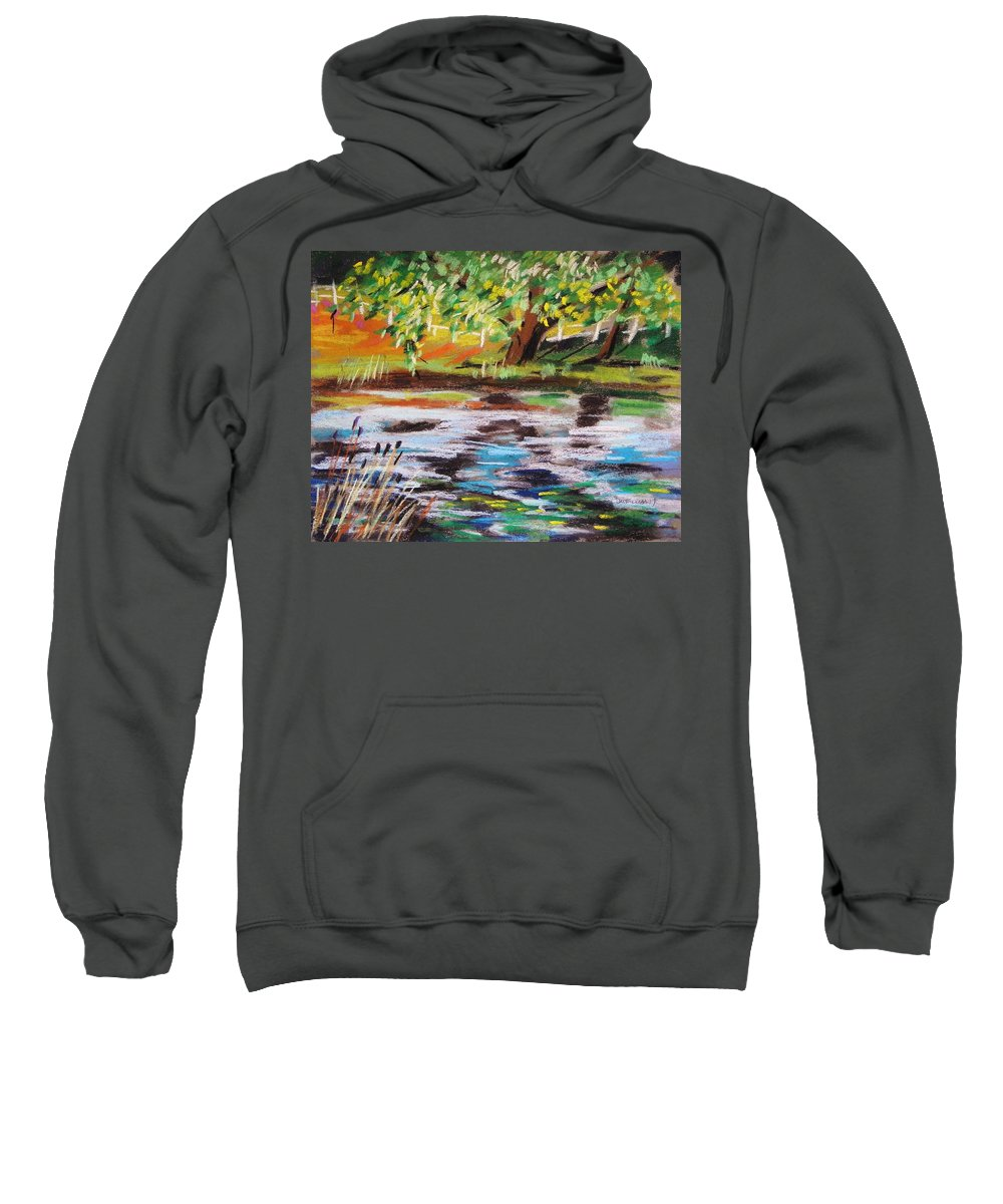 Landscape Sweatshirt featuring the painting Trees Edge The Pond by John Williams
