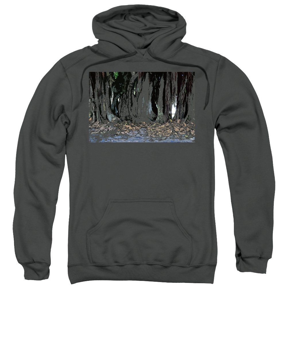 Banyan Trees Sweatshirt featuring the painting Trees Of The Banyan by David Lee Thompson