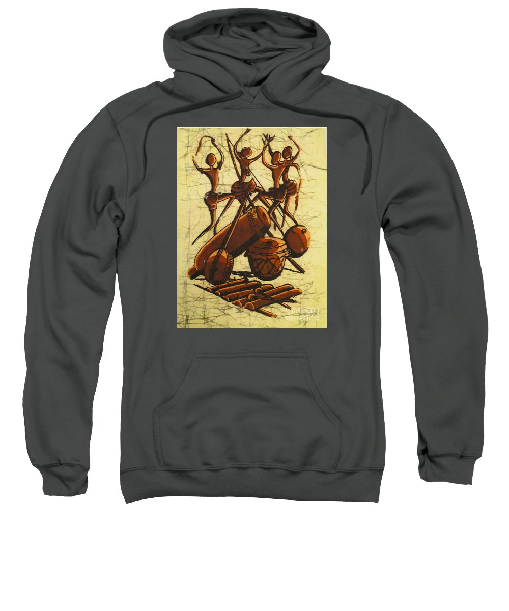 African Sweatshirt featuring the painting Tribal Dance by Mussa Chiwaula