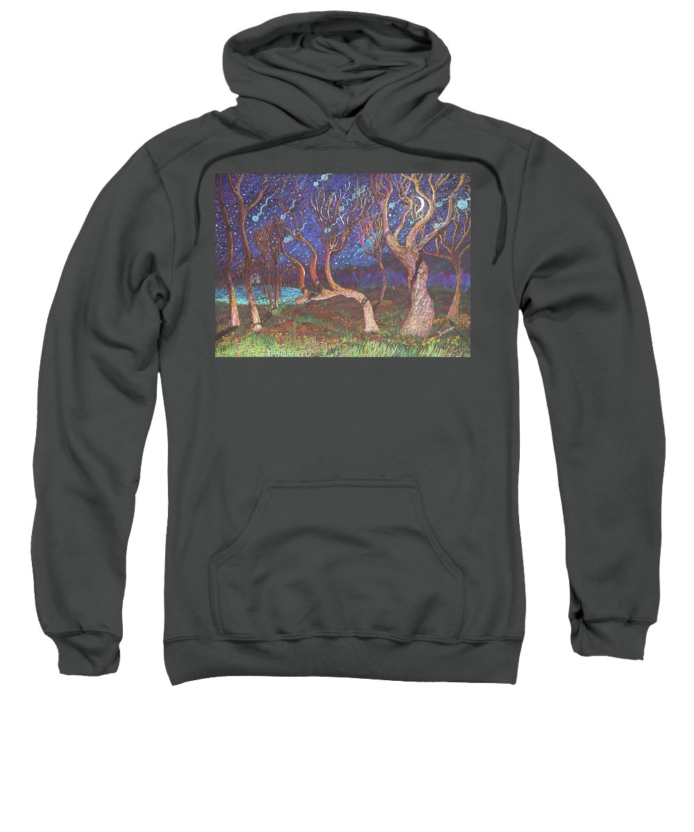 Landscape Sweatshirt featuring the painting Trinity Tree By Moonlight by Stefan Duncan