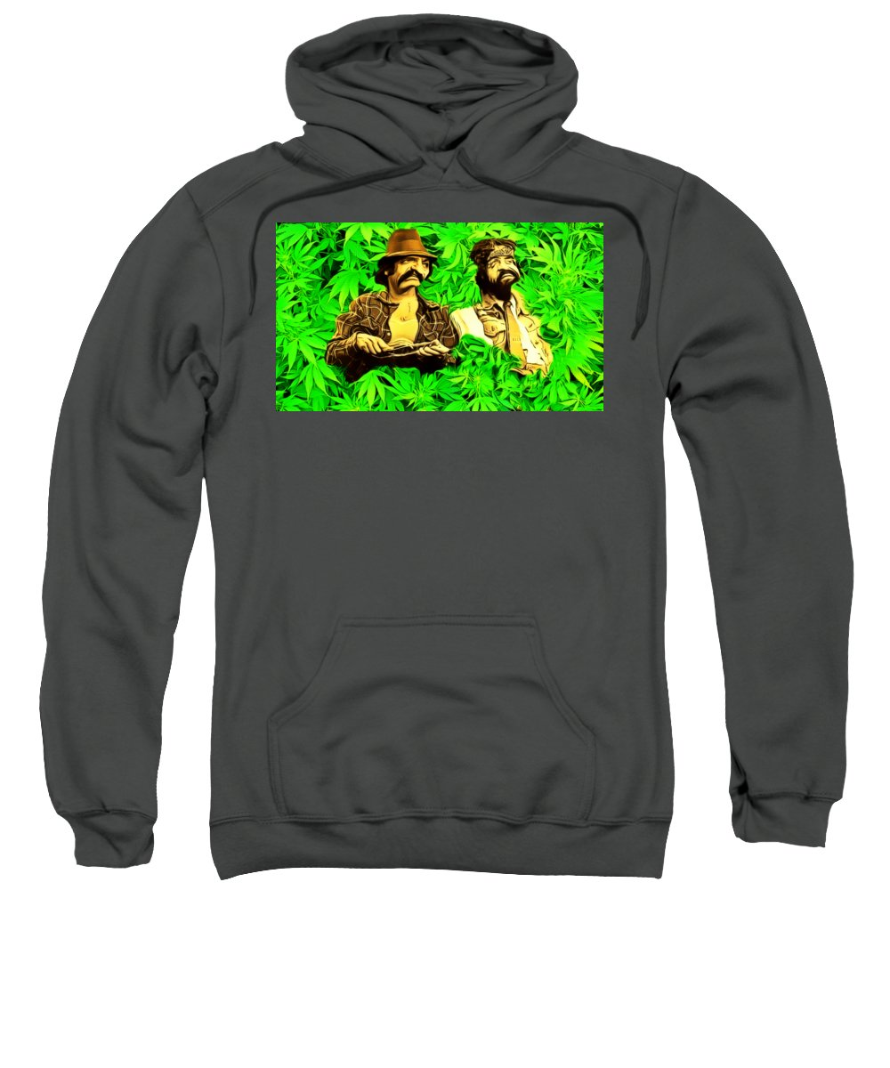 Trippin With Cheech And Chong Sweatshirt featuring the painting Trippin With Cheech And Chong by Pd