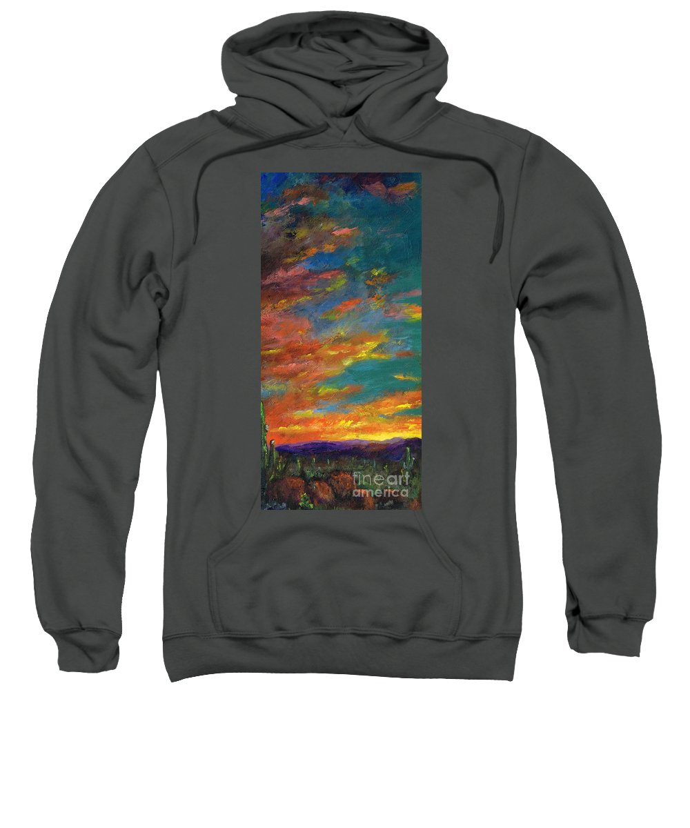 Desert Sweatshirt featuring the painting Triptych 1 Desert Sunset by Frances Marino