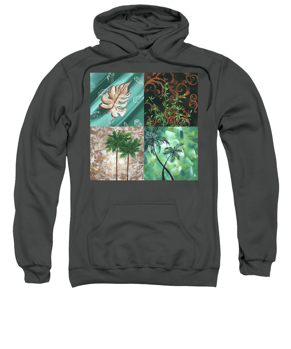 Wall Sweatshirt featuring the painting Tropical Dance Square By Madart by Megan Duncanson