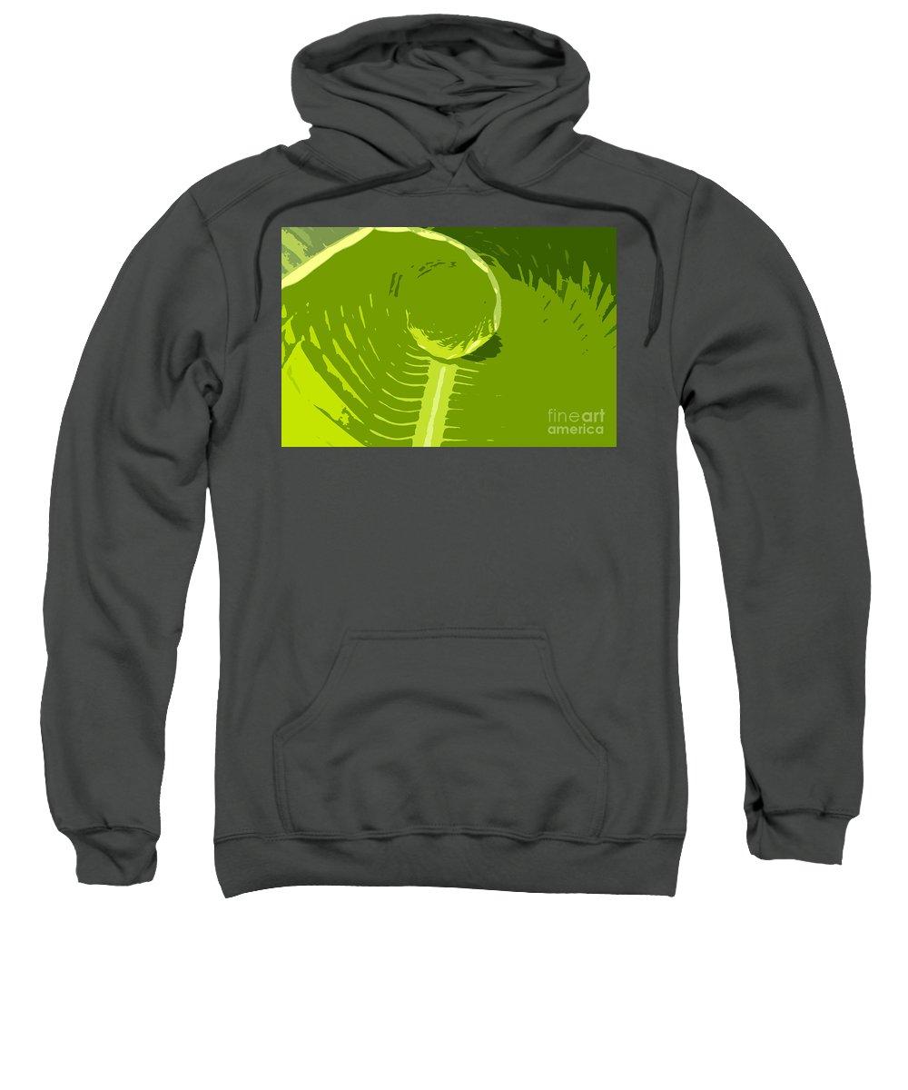 Green Sweatshirt featuring the digital art Tropical Green by David Lee Thompson