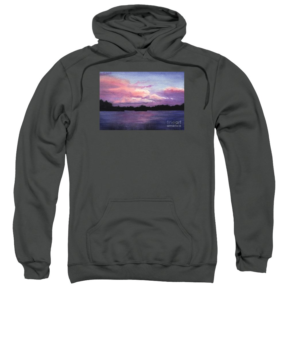 Landscape Sweatshirt featuring the painting Trout Lake Sunset I by Lynn Quinn