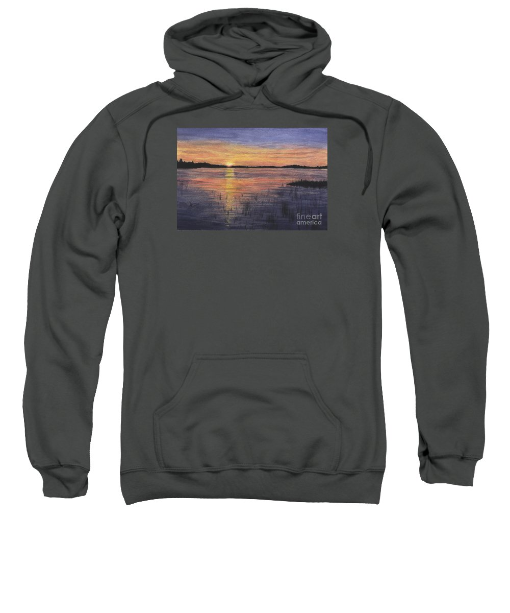 Landscape Sweatshirt featuring the painting Trout Lake Sunset II by Lynn Quinn