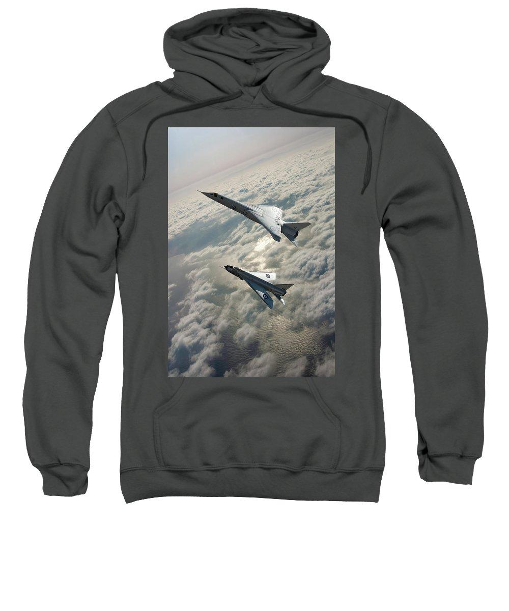 Royal Air Force Sweatshirt featuring the mixed media Tsr.2 Advanced Bomber And Lightning Interceptor by Erik Simonsen
