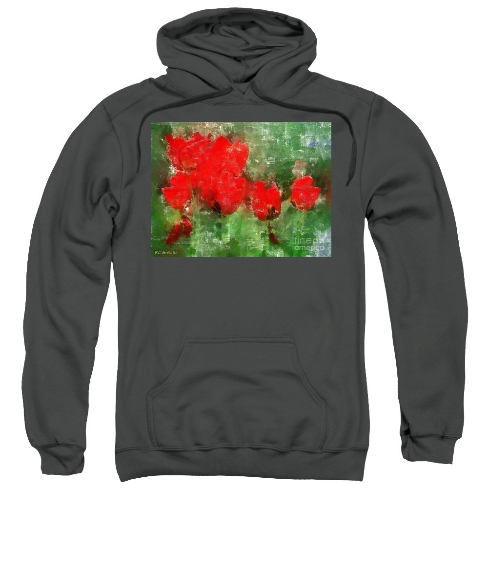 Flowers Sweatshirt featuring the painting Tulip Decay Deconstructed by RC DeWinter