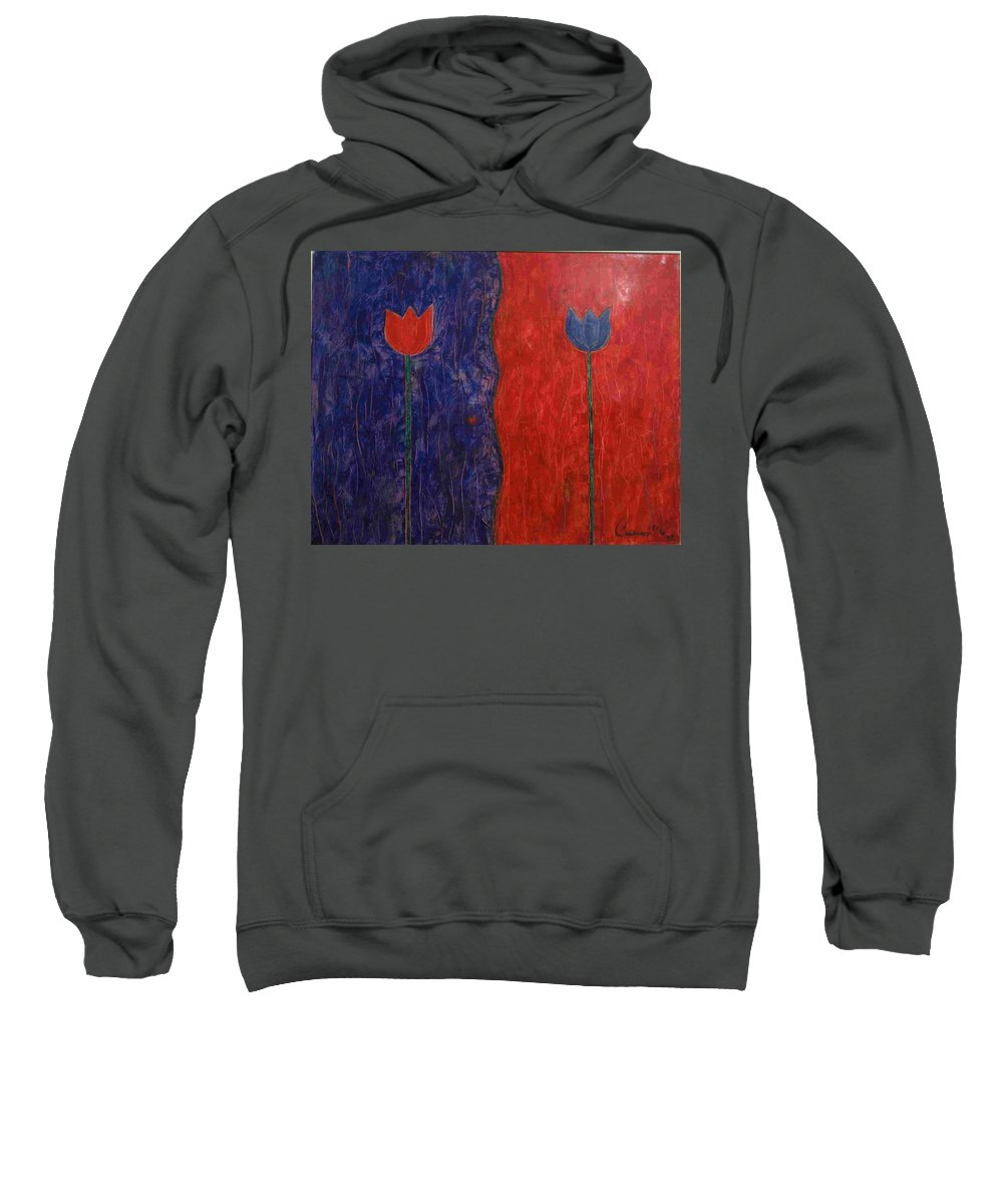 Flower Sweatshirt featuring the painting Tulip by Walter Casaravilla