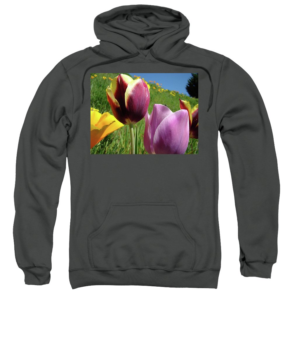 �tulips Artwork� Sweatshirt featuring the photograph Tulips Artwork Tulip Flowers Spring Meadow Nature Art Prints by Baslee Troutman