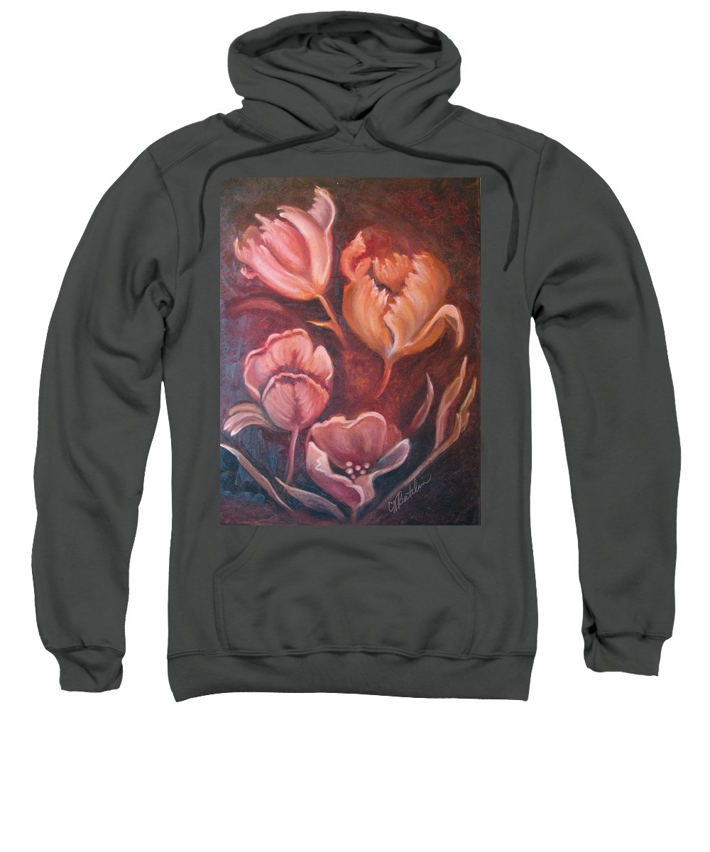 Old Master Style Sweatshirt featuring the painting Tulips In Blush by Collette Bortolin
