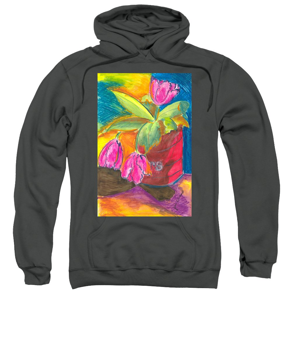 Flowers Sweatshirt featuring the painting Tulips In Can by Jean Blackmer