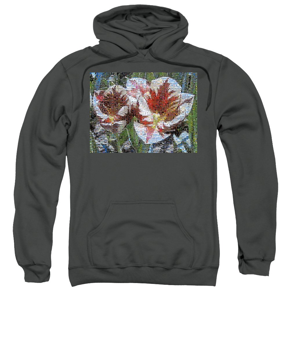 Lighthouse Sweatshirt featuring the photograph Tulips In Springtime Photomosaic by Michelle Calkins