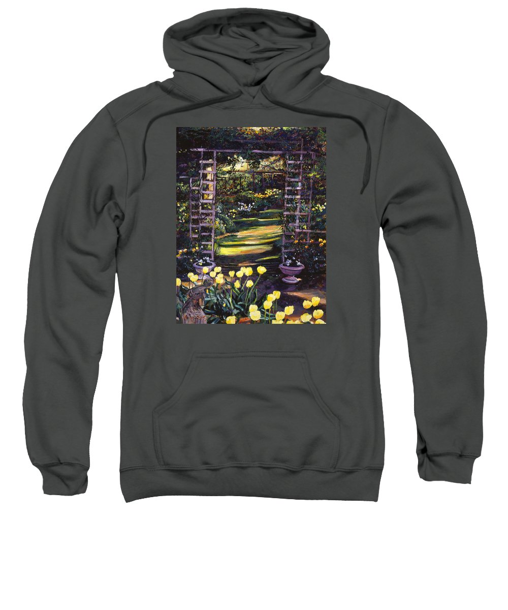 Gardens Sweatshirt featuring the painting Tulips Of Gold by David Lloyd Glover